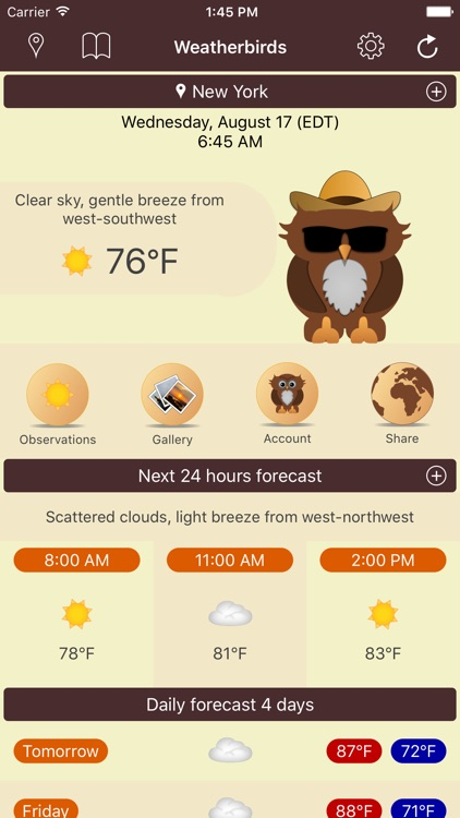 Weatherbirds - the weather forecast owls
