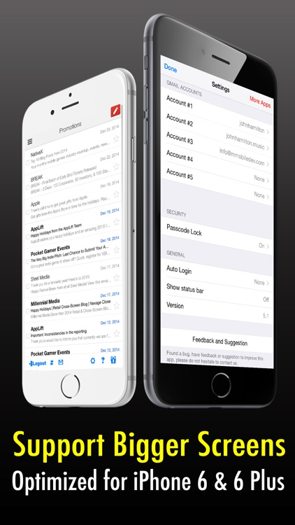Safe Mail for Gmail Free : secure and easy email mobile app with Touch ID to access multiple Gmail and Google Apps inbox accounts