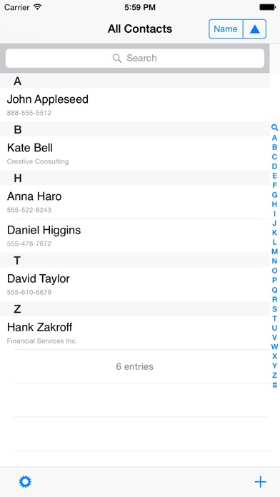 Contacts last entries & search screenshot two