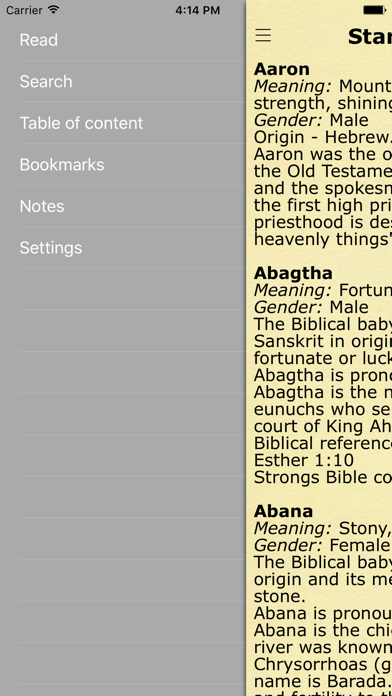 Biblical Names with Meaning and Context from BibleScreenshot of 3