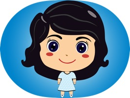 This sticker pack features cute cartoon girl Luli