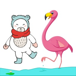Flamingo & Bear Stickers