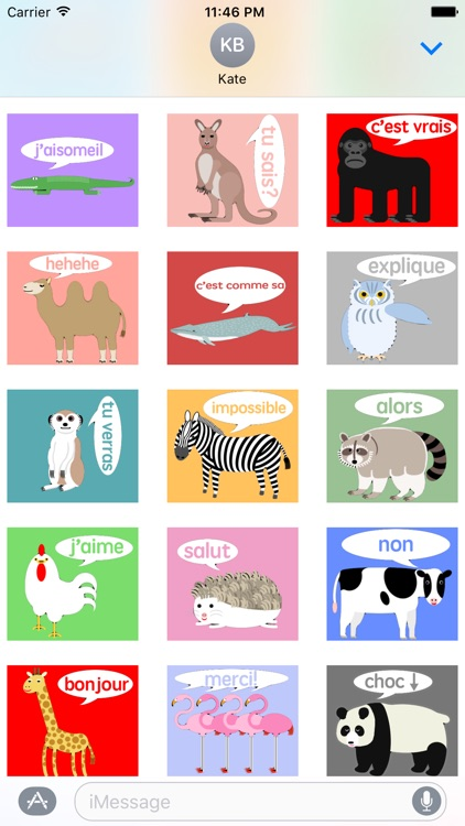 Animal stickers French version