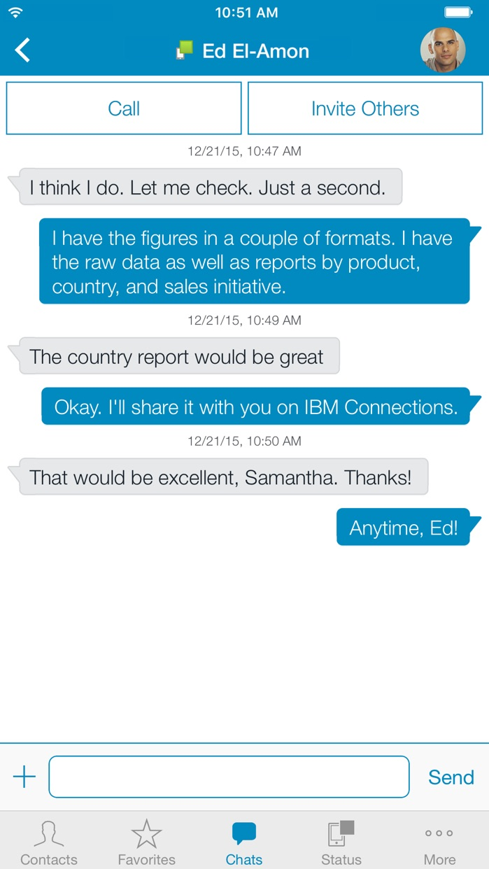 IBM Connections Chat Screenshot