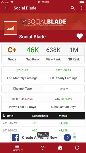 Social Blade Statistics App on the App Store