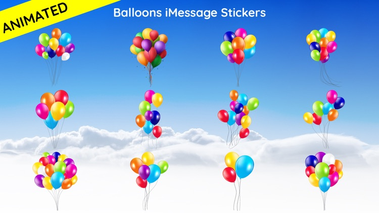 Animated Balloons Text Sticker