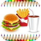 Food Coloring Book for Adults and Kids: Learn to color and draw a fast food, rice and more icon