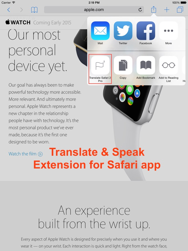 Translate 2 for Safari Screenshot