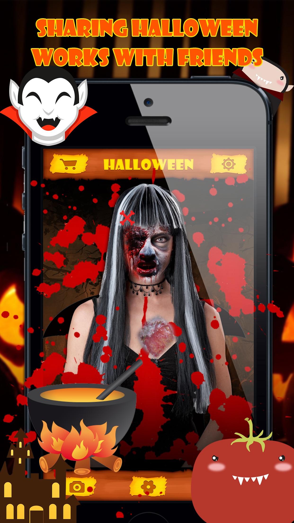 Halloween Emoji Stickers - Face Photo Makeup Games Screenshot