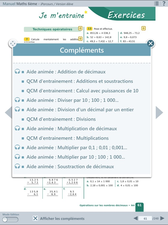 iParcours Maths 6e screenshot-2