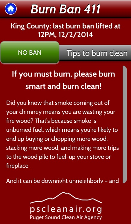 Burn Ban 411 - Real-time air quality burn ban status