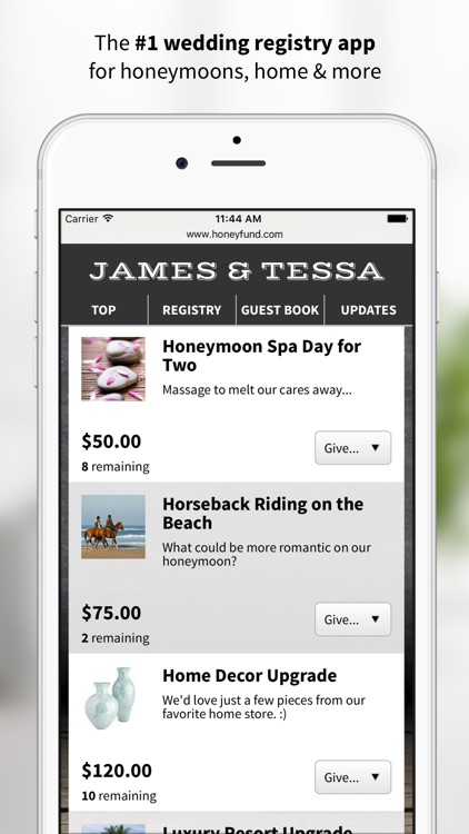 Honeyfund Wedding Registry - #1 Honeymoon Registry