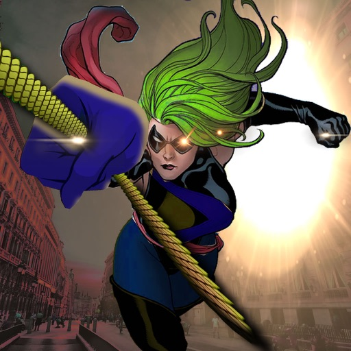 A Superhero Girl Rope Swinging - City This Dusk Till Dawn And Fly Game icon