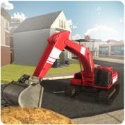 沙挖掘机起重机模拟器3D - 争取起重机操作员与驱动装载机卡车从采石场施工现场。
