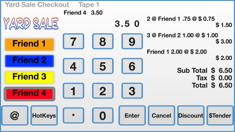 Yard Sale Checkout Register
