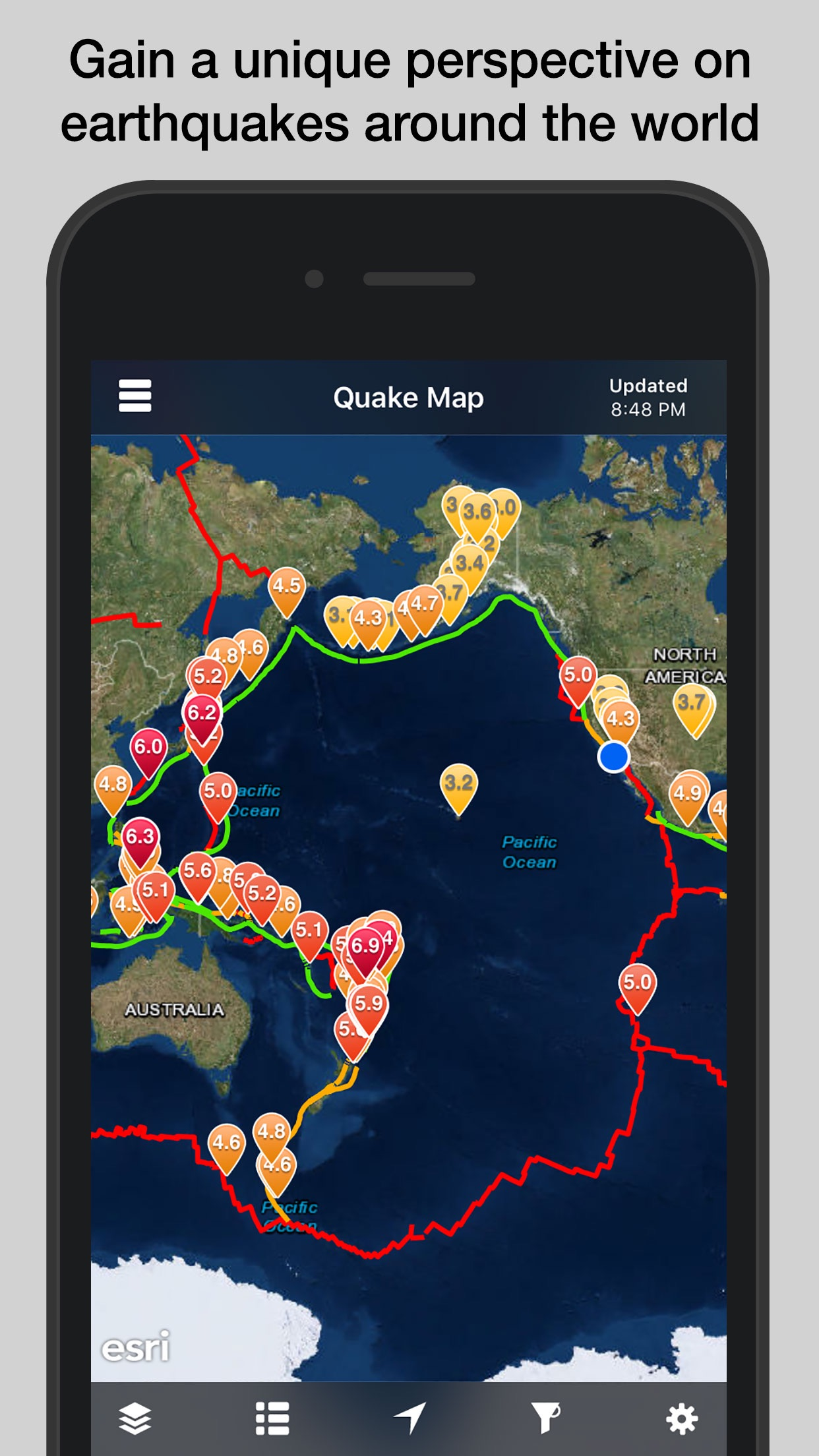 QuakeFeed Earthquakes Screenshot