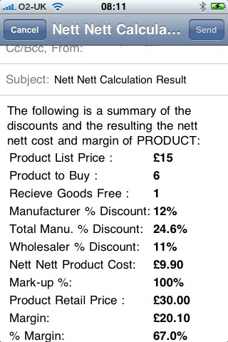 Screenshot of Nett Nett Calculator
