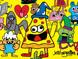 40 funny, colourful and cute character stickers from award winning doodle artist Jon Burgerman