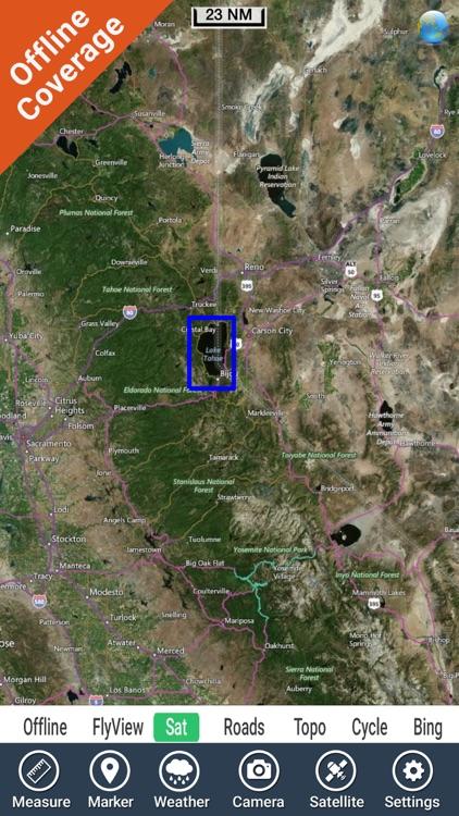 Lake Tahoe California GPS fishing chart offline screenshot-4