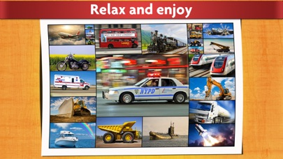 Cars, trucks and trains puzzles - Relaxing photo picture