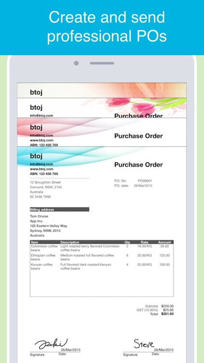 Purchase Order maker - Create and send POs in PDF