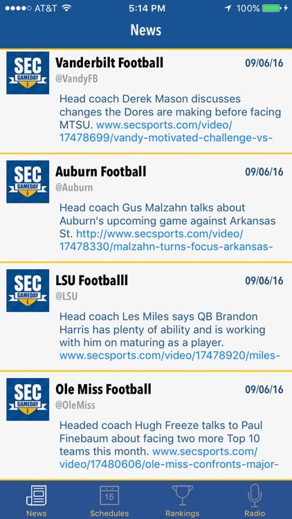 SEC GameDay - Radio, Rankings, Scores & Schedules