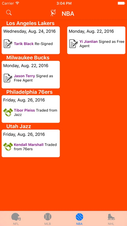 Sports Wire Transactions