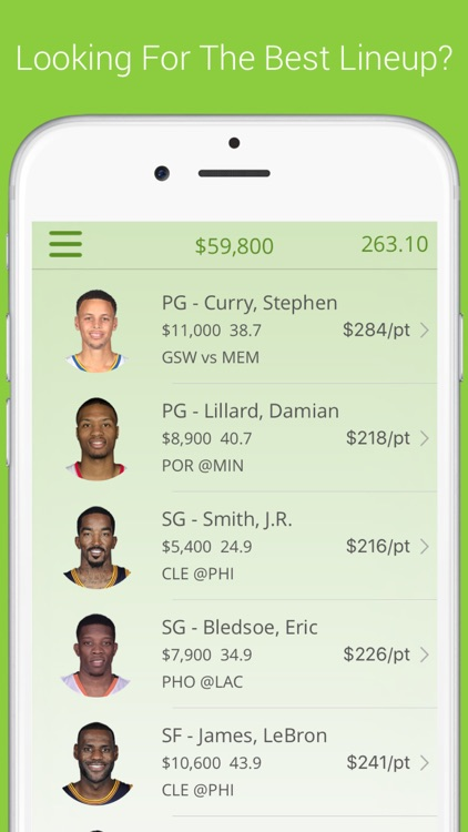 Daily Fantasy Basketball Lineup Optimizer Free Optimal Lineups For Fanduel By Wally World Apps