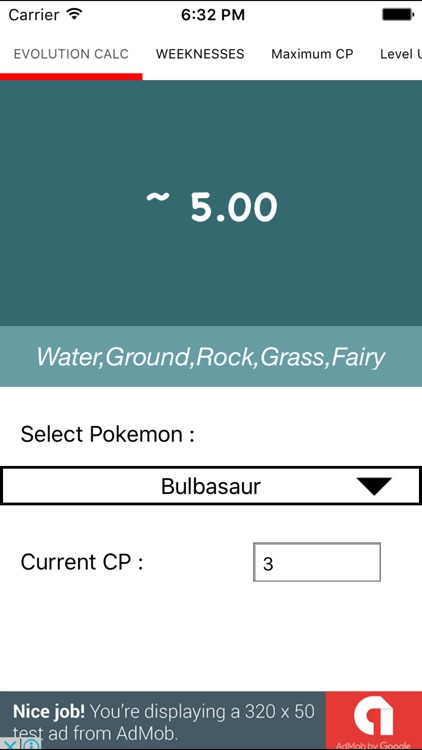 Evolution Calculator for Pokémon Go!