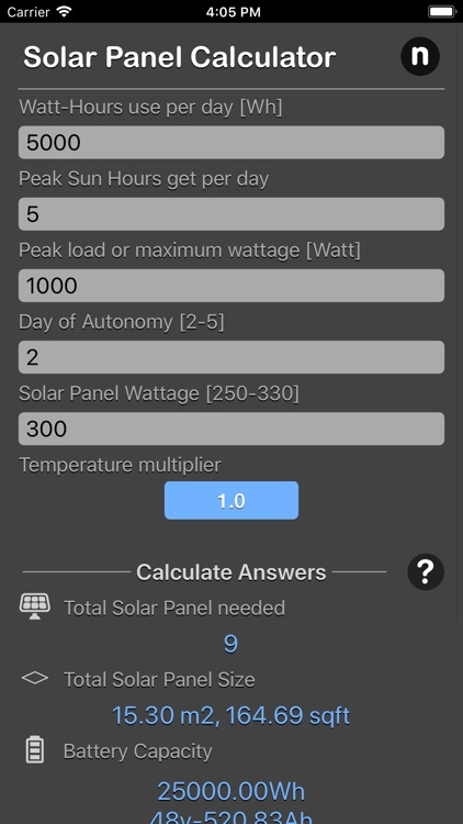 Solar Panel Calculator Plus screenshot-0