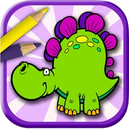 Kids paint and color animals dinosaurs coloring book