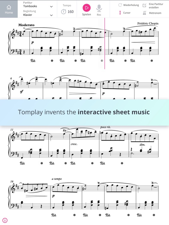 Tomplay interactive sheet music