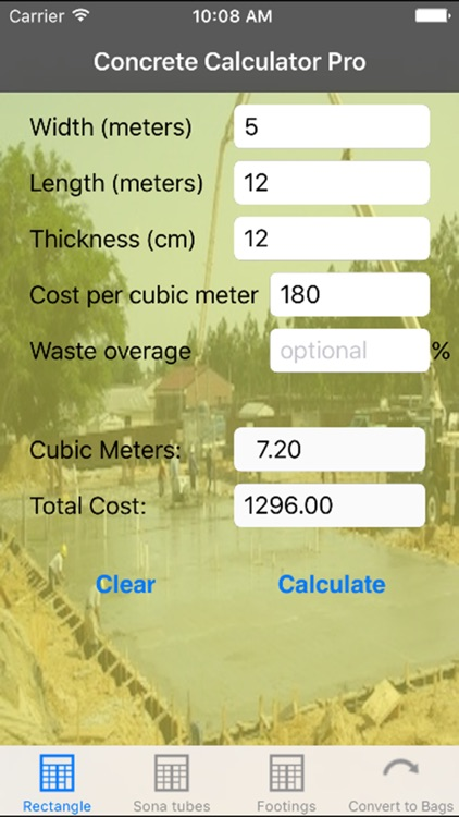 Concrete Calculator Pro Metric