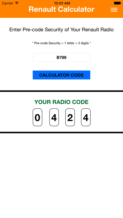 Renault Radio Code screenshot two