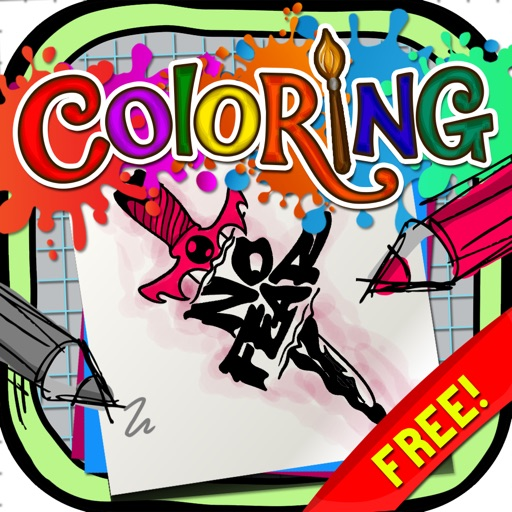 Coloring Book : Painting Pictures Tattoo Fonts Free Edition