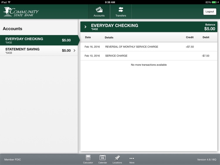 CSB Simple Banking for iPad