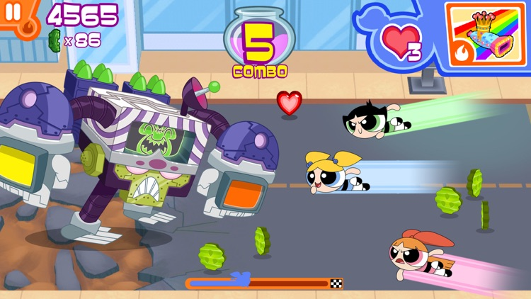 Flipped Out – The Powerpuff Girls Match 3 Puzzle / Fighting Action Game screenshot-1
