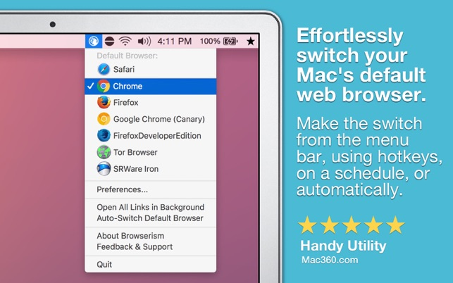 how to change default browser when opening links on mac