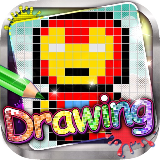 Drawing Desk Pixels Cartoons : Draw and Paint  Coloring Books Edition