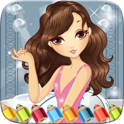 Pretty Girl Fashion Colorbook Drawing to Paint Coloring Game for Kids