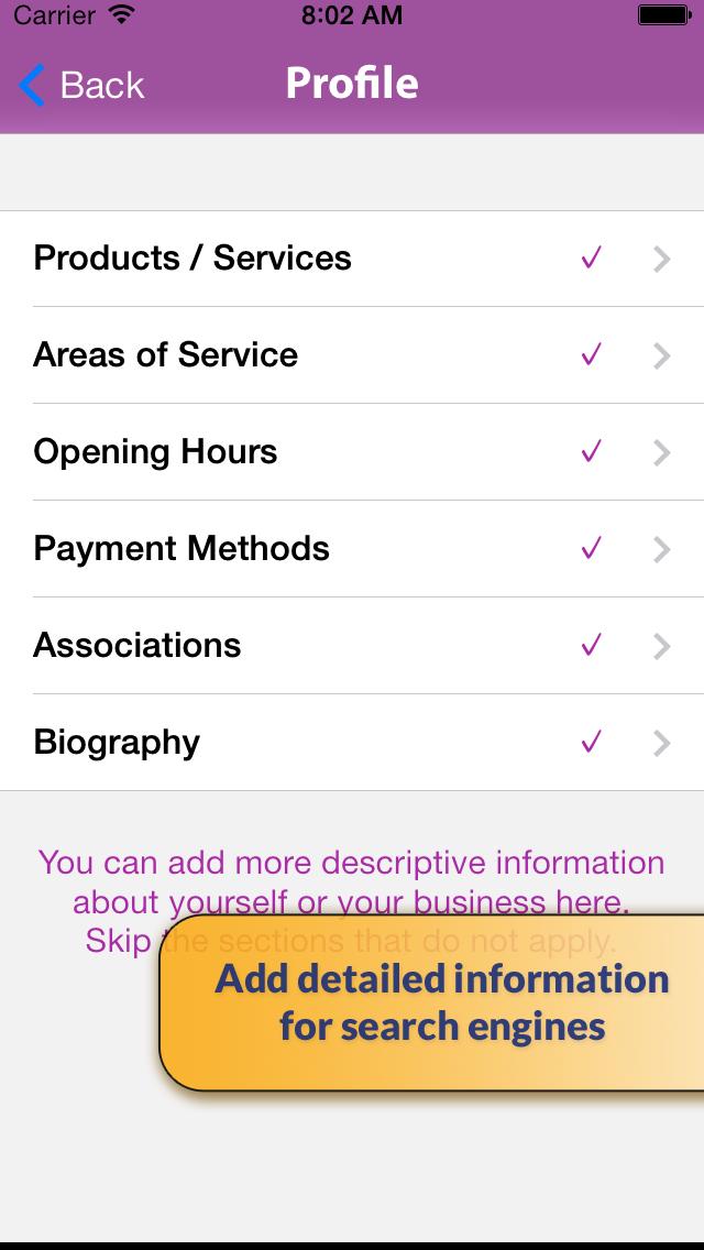 Telnames Mobile Website Builder screenshot