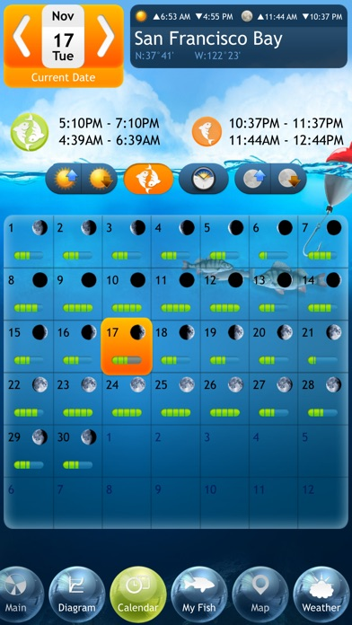 Fishing Deluxe - Best Fishing Times Calendar Screenshot 2