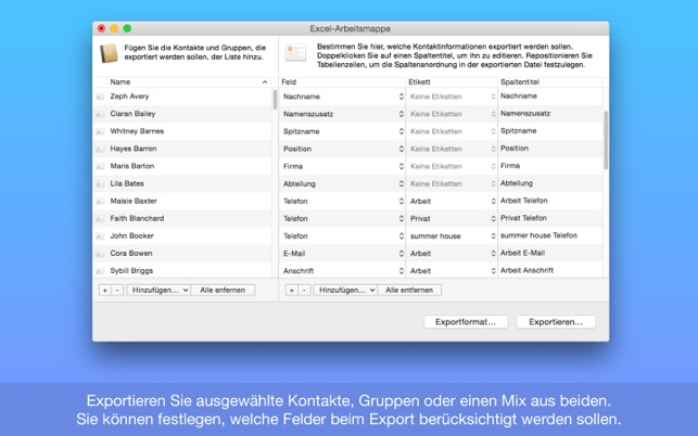 Exporter for Contacts: CSV, Excel, Fritzbox & mehr im Mac App Store