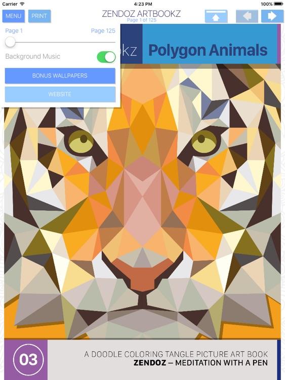 Zendoz ArtBookz - 03 - Polygon Animals - HD - Coloring Book