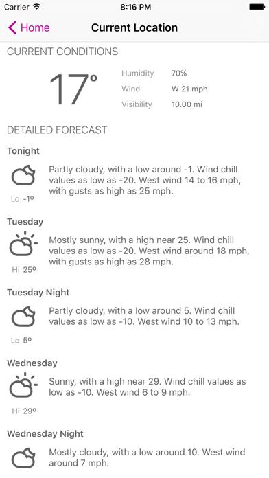 Forecaster: detailed NOAA forecasts Screenshot