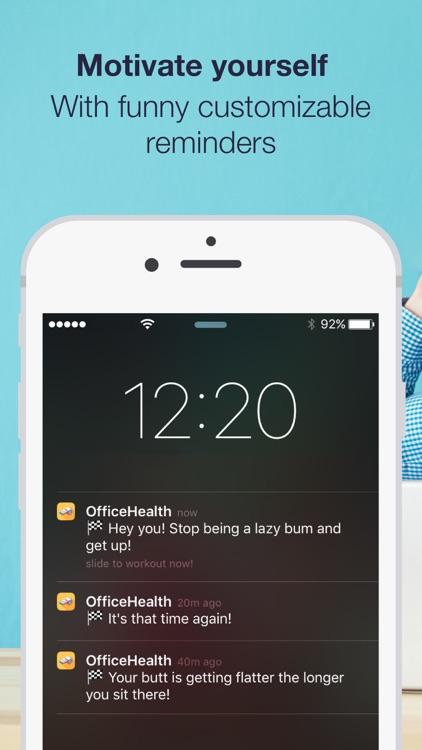 Daily office workout reminders & exercises to stay healthy and relieve stress with HealthKit by OfficeHealth screenshot-3