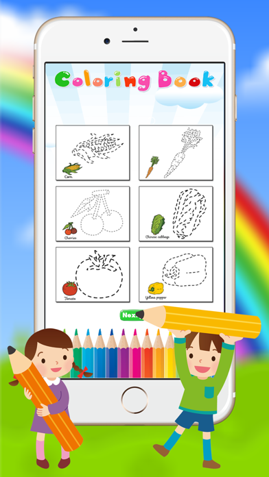 Vegetable & Fruit Coloring Book - Drawing Connect dots kids screenshot two