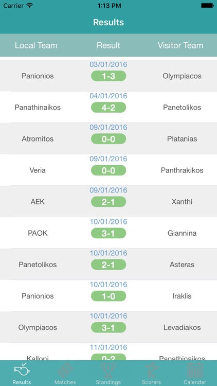 InfoLeague - Information for Greek Super League - Matches, Results, Standings and more