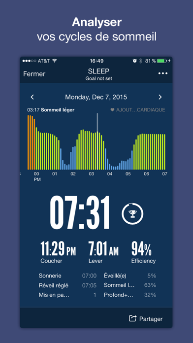 Sleep Time+: Réveil Analyse