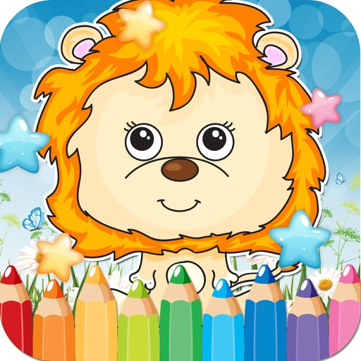 Safari Animals Drawing Coloring Book - Cute Caricature Art Ideas pages for kids iOS App